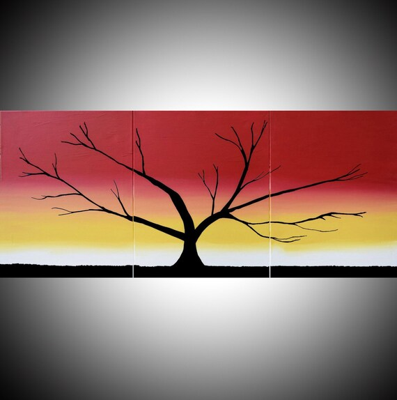 Original Acrylic Paintings On Canvas Abstract Triptych Landscape Tree Of Life Painting Large Wall Art Modern 20 X 48