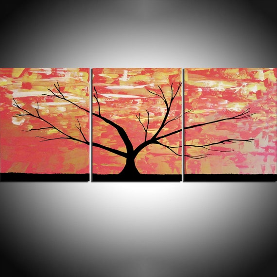 Original Acrylic Paintings On Canvas Abstract Triptych Landscape Tree Of Life Painting Extra Large Wall Art 20 X 48 5 Sizes Available