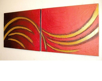 large Wall art canvas 40x16 inches huge wall art large wall art impasto painting impasto art kunst