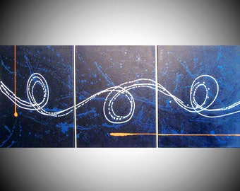 """blue painting blue wall art extra large triptych huge triptych hanging """"Big Blue"""" canvas 3 panel three panel wall decor triptyque"""