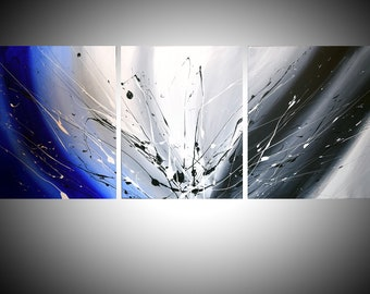 """triptych huge wall art  wall hanging """"Cool Blue"""" 48 x 20 """" huge canvas art 3 panel wall art three panel wall decor home decor"""