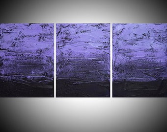 """abstract extra LARGE WALL ART triptych 3 panel """" Purple Persuasion """" canvas original painting triptych canvas kunst 48 x 20"""""""