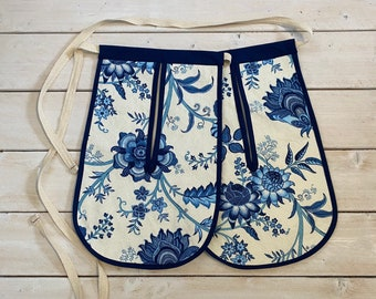 18th century pockets, 17th century pockets, colonial costume pockets blue floral canvas