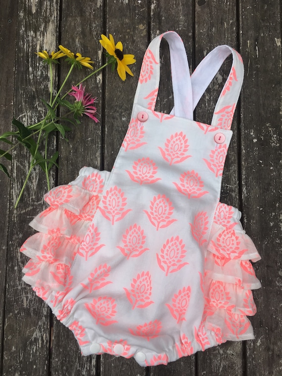 ce8cf323c Floral damask print cotton ruffle baby romper pink baby girl