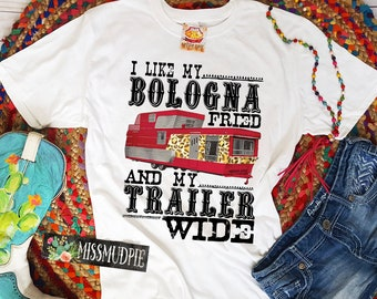 87be2404fcf I like My Bologna Fried And My Trailer Wide - MISSMUDPIE - Bella Canvas  unisex t-shirt - Retro vintage mobile home trailer leopard print