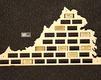 NEW --- Virginia Shaped Wine Cork Map -- Holds 33 Wine Bottle Corks -- For your favorite wine lover -- Made in the USA