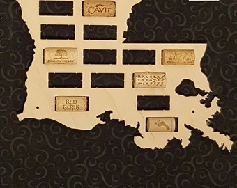 NEW --- Louisiana Shaped Wine Cork Map -- Small -- Holds 20 Wine Bottle Corks -- For your wine lover -- Made in the USA