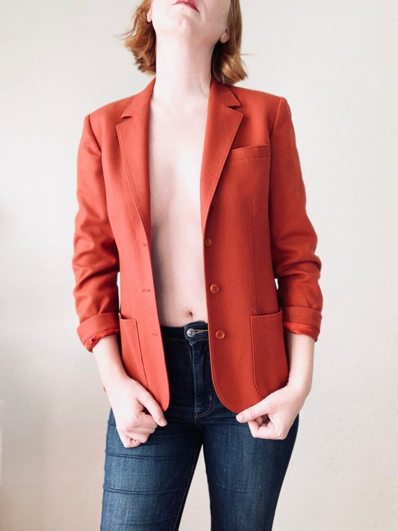 1960s Brick Red Pendleton Wool Blazer Size Small M