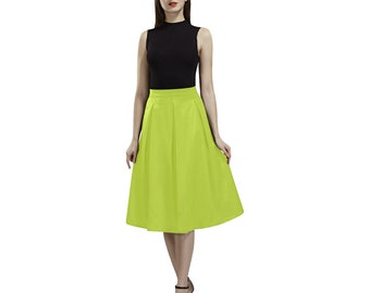 cc6d9ae91 Lime Punch Box Pleat Skirt | Bold Print Fabric | Size XS S M L XL 2XL 3XL |  Below Knee Length | Casual or Dressy Formal Womens Fashion