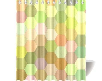 Hex Green Shower Curtain