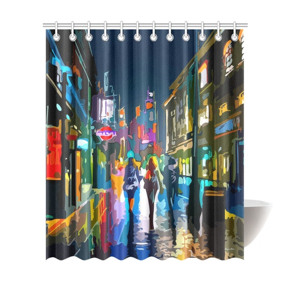 City Lights Painting Shower Curtain 6 Sizes To Choose From