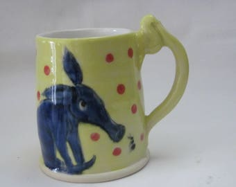 Aardvark and Ant friends Wheel thrown coffee mug cup