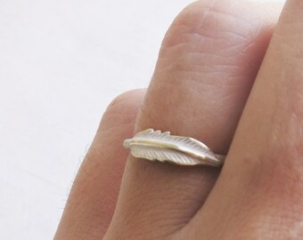 Tiny feather ring, gold feather ring, pale pink feather ring, gold brass ring, stacking ring, feather ring, gift for her