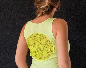 Lime green Tank Top with upcycled vintage crochet doily back - Size M