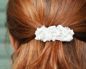 White fabric french barrette, small hair clip, hair slide, Hair Accessory, wedding, casual