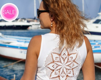 White Tank Top with  crochet mandala doily back - Size L-XL - one of a kind piece