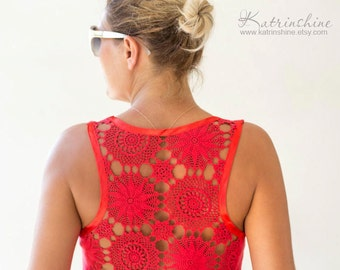 Red Tank Top with upcycled vintage hand dyed crochet back - Size S