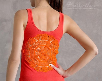 Orange Tank Top with upcycled vintage crochet doily back - Size XS-S