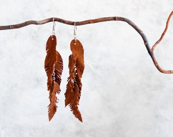 Brown suede leather Feather Earrings FREE SHIPPING fringe boho chic earrings
