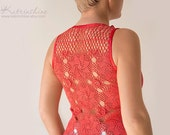 Coral red Tank Top with upcycled vintage hand dyed crochet back - Size M-L