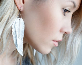 White leather Feather Earrings with chains FREE SHIPPING fringe boho chic earrings