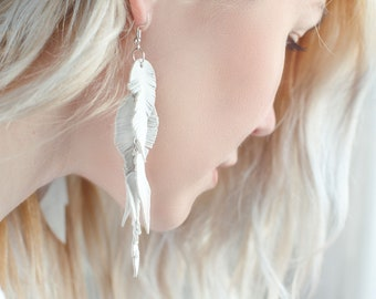 White suede leather Feather Earrings FREE SHIPPING fringe boho chic earrings