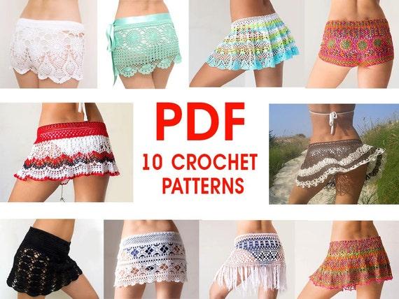 Pdf Ebook 10 Patterns For Crochet Skirts Shorts Etsy