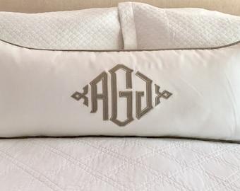 14 x 36 Monogrammed Appliquéd Pillow Cover