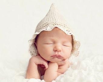 Newborn bonnet hat in 50 colors newborn simple gender neutral hat baby boy girl bonnet pixie gnome hat newborn props newborn photo prop