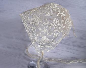 SALE   Newborn lace bonnet. Newborn photography prop, newborn girl, newborn girl hat bonnet, newborn girl prop, newborn props,