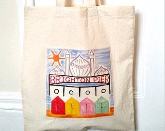 Brighton Bag, Tote Bag, Brighton Tote, English Seaside, Royal Pavilion, Brighton Pier, Beach Huts, Shopping Bag, Eco Bag, Reusable Bag