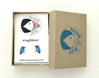 Kingfisher Earrings, Bird Studs, Birds, Nature, Gift for Her, For Mum, Jewellery, Girls's Gift, Wildlife,