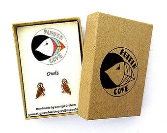 Owl Earrings, Barn Owl, Tawny Owl, Bird Studs, Nature, Gift for Her, For Mum, Jewellery, Girls's Gift, Wildlife, Woodland Bird