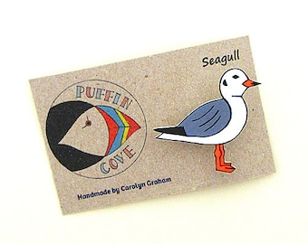 Seagull Brooch, Seagull Badge, Birds, Pin, Gift for Her, For Mum, Jewellery, Mother's Day, Seaside, Beach, Coast, Sea