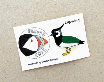 Lapwing Brooch, Peewit, Badge, Birds, Pin, Gift for Her, For Mum, Jewellery, Mother's Day, Nature, Wildlife