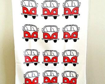 Campervan Tea Towel Red, Combi Tea Towel, Campervan Cloth, VW Tea Towel, Kitchen Accessories, Gifts for Mum