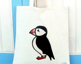 Puffin Bag, Tote Bag, Bird Bag, Puffin Tote, Bird Tote, Cotton Tote, Shopping Bag, Eco Tote Bag, Reusable Grocery Bag