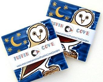 Owl Coaster, Ceramic Coaster, Barn Owl, Tawny Owl, Personalised, Men's Gift, Gifts for Mum, Placemats, Bird Coaster, Wildlife, Nature