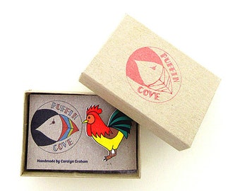 Cockerel Brooch, Chicken Badge, Rooster, Birds, Pin, Gift for Her, For Mum, Jewellery, Mother's Day