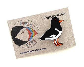 Oystercatcher Brooch, Oystercatcher Badge, Birds, Pin, Gift for Her, For Mum, Jewellery, Mother's Day, Seaside, Beach, Coast, Sea