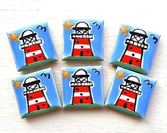 Lighthouse Magnet, Fridge Magnets, Seaside, Stationary Magnet, Refrigerator Magnet, Beach, Nautical, Maritime, Gift for Teacher