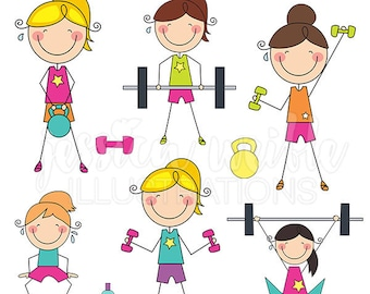 Workout Stick Figures Cute Digital Clipart, Commercial Use OK - Girls Crossfit Stick Figure Clipart, Lifting Weights Graphics, Stick Figures