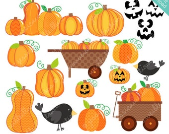 Pumpkin Patch - Cute Digital Clipart for Commercial and Personal Use, Halloween Clipart, Halloween Graphics, Fall Clipart, Pumpkin Clipart