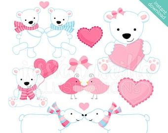 Valentine Polar Bears Cute Digital Clipart, Scrapbooking, Valentine Clip art, Cute Valentine Bears Graphics, Illustration, Instant Download