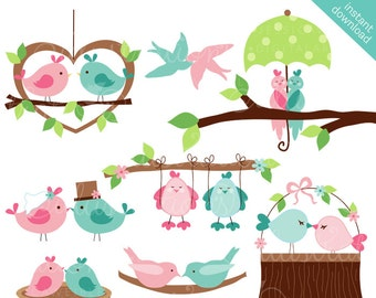 Valentine Love Birds Lovebirds Clipart Clip Art Wedding Birds Clipart Clip Art Commercial and Personal
