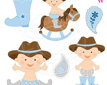 713096fe204 Light Blue Cowboy Baby Cute Digital Clipart