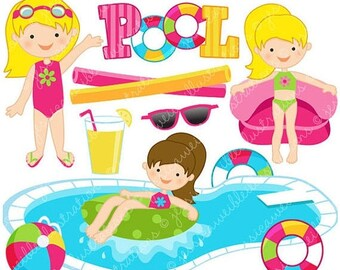 SALE Girls Pool Party Cute Clipart Clip Art Summer Swimming Graphics Splash Clipa