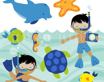 Snorkeling Fun Boys V2 Cute Digital Clipart For Card Design Scrapbooking And Web Summer Swimming