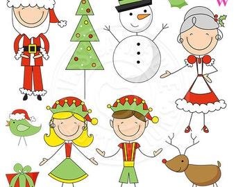 Christmas Pajamas Cute Digital Clipart Christmas Clip art  3a14fb21f