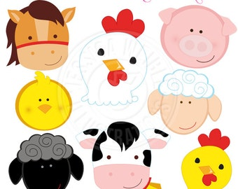 Barn Animal Faces Cute Digital Clipart - Commercial Use OK - Farm Animals, Barn Animals, Farm Clipart